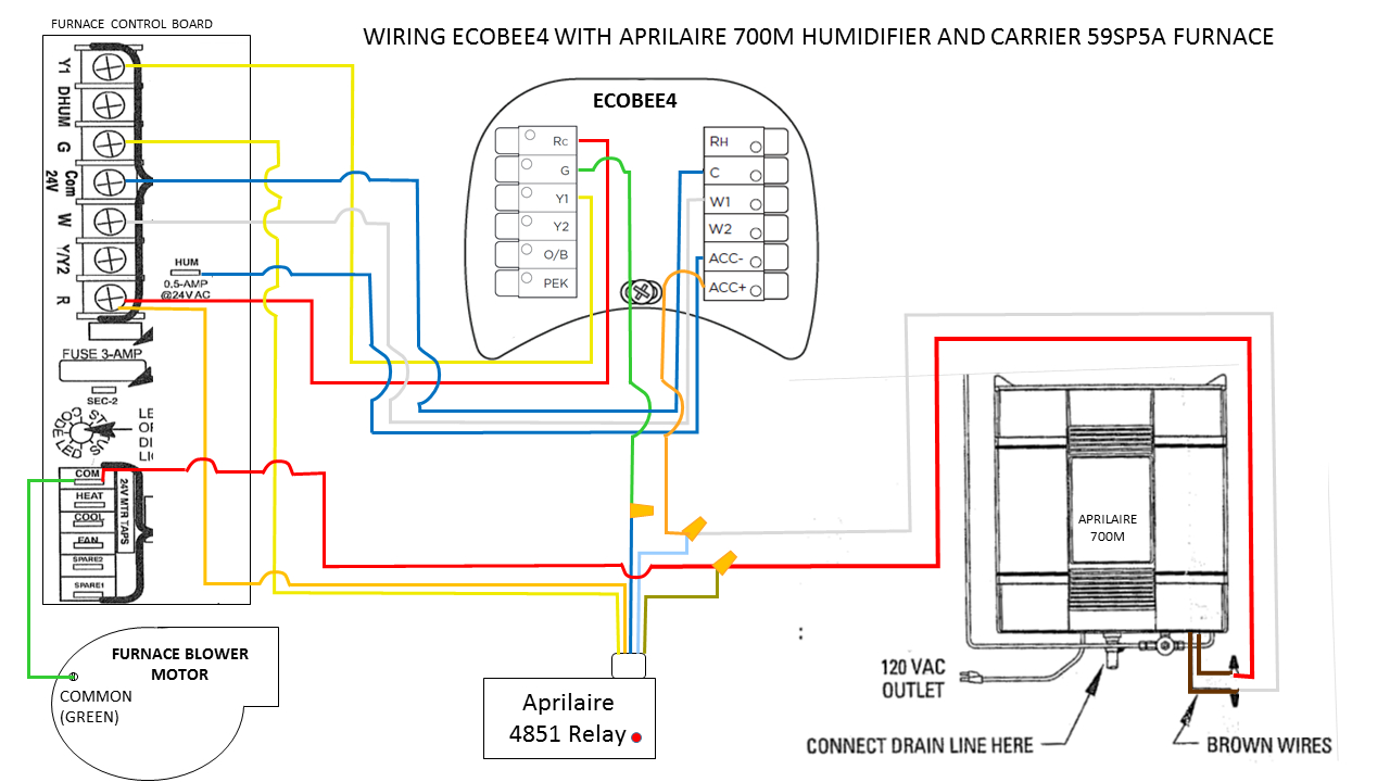 Any Hvac Guys Here That Can Check My Wiring Of Ecobee4 And Aprilaire - Nest Humidifier Wiring Diagram No C Wire