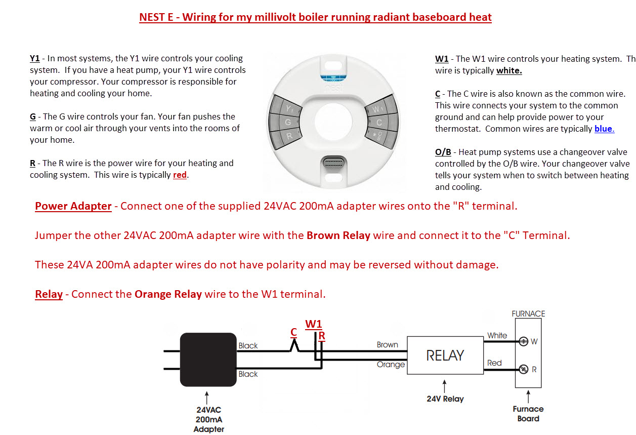 Connected Nest E To Old Millivolt Lp Water Boiler (Radiant Heat) : Nest - Millivolt Heater Wiring Diagram For Nest Thermostat