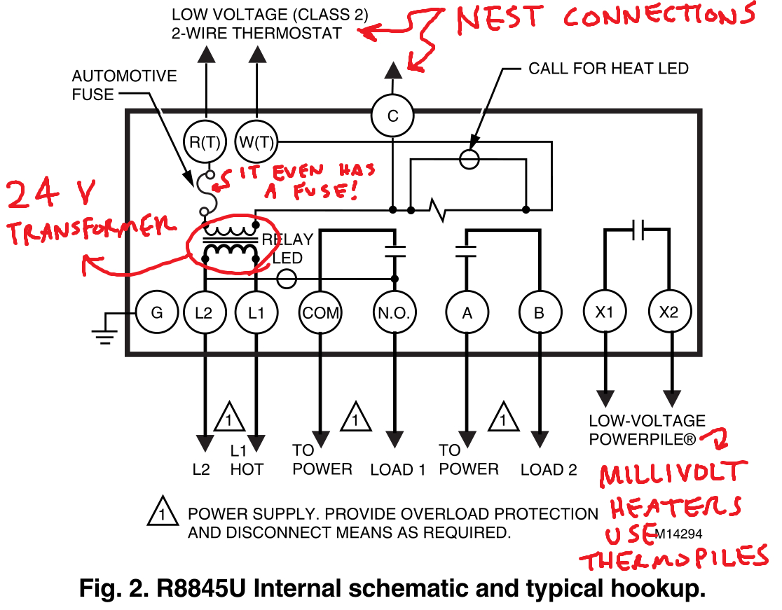 Controlling An Ancient Millivolt Heater With A Nest - Nest Wiring Diagram 8 Wire