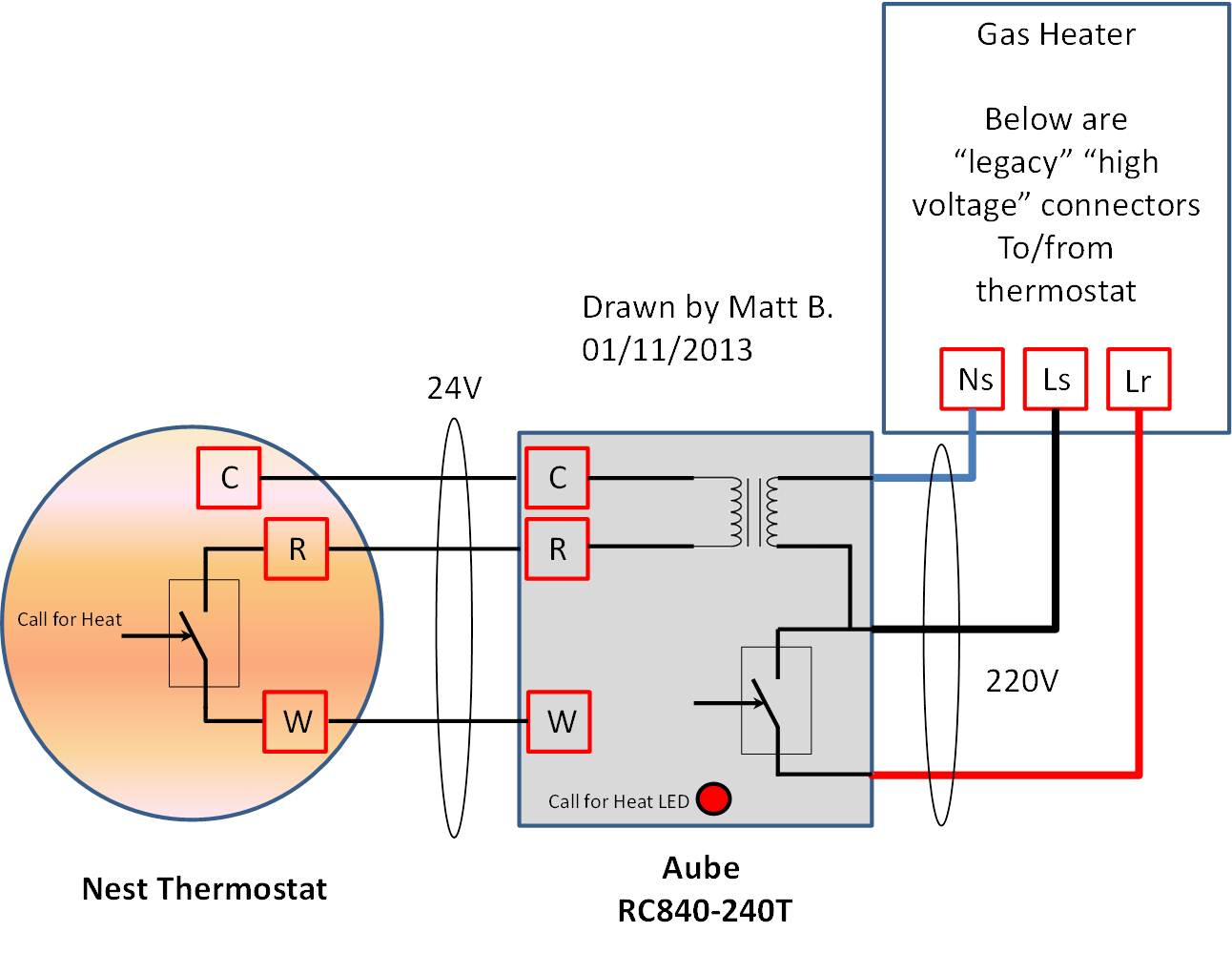 Haute Tension 220V Nest Thermostat Cablage En Europe Thru Rc840 From - Nest Wiring Diagram Gas