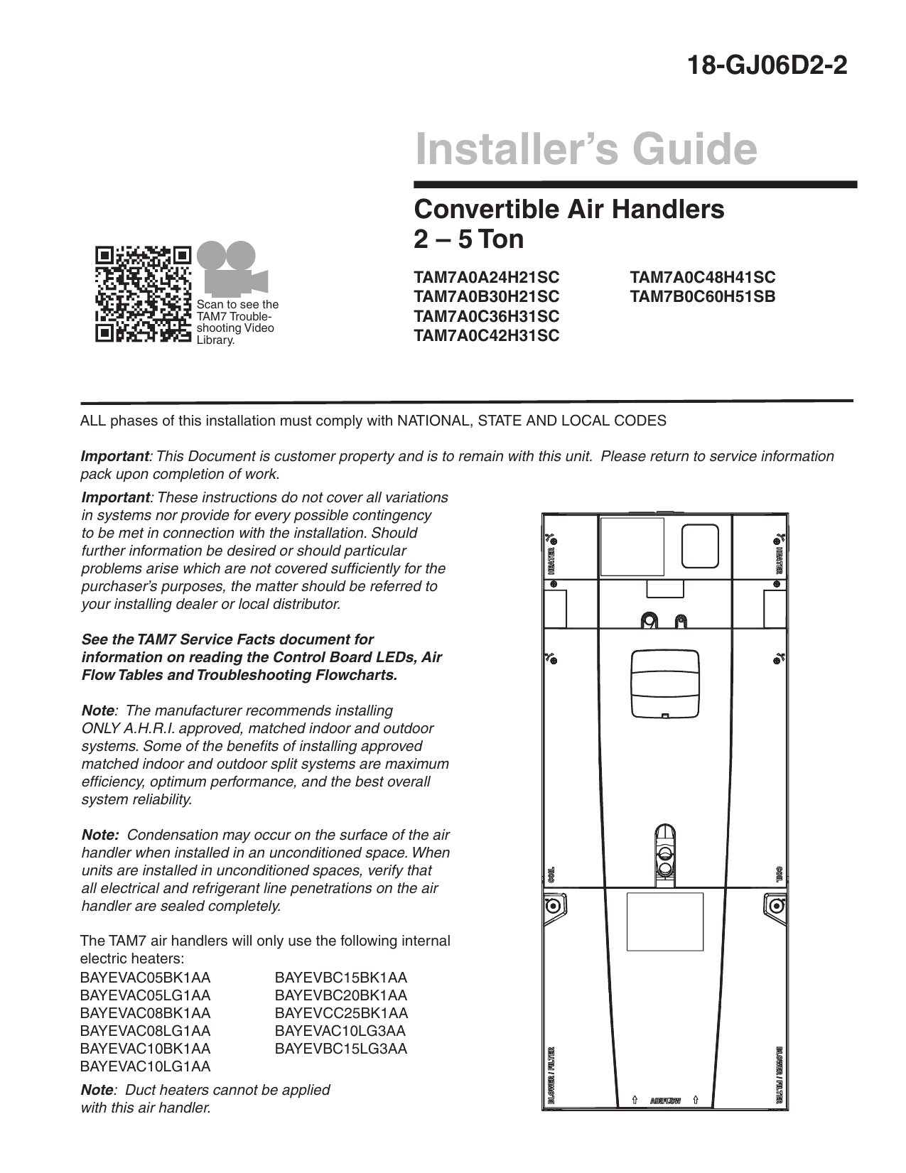 Installers Guide Convertible Air Handlers 2 - 5 Ton Tam7 | Manualzz - Nest Thermostat Trane Tam7 2 Stage Wiring Diagram