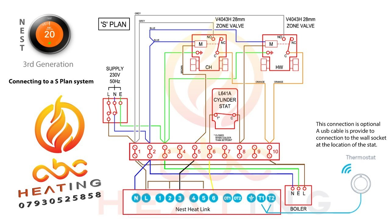 Nest 3Rd Gen Install On A S Plan System Uk - Youtube - Nest Heating System Wiring Diagram