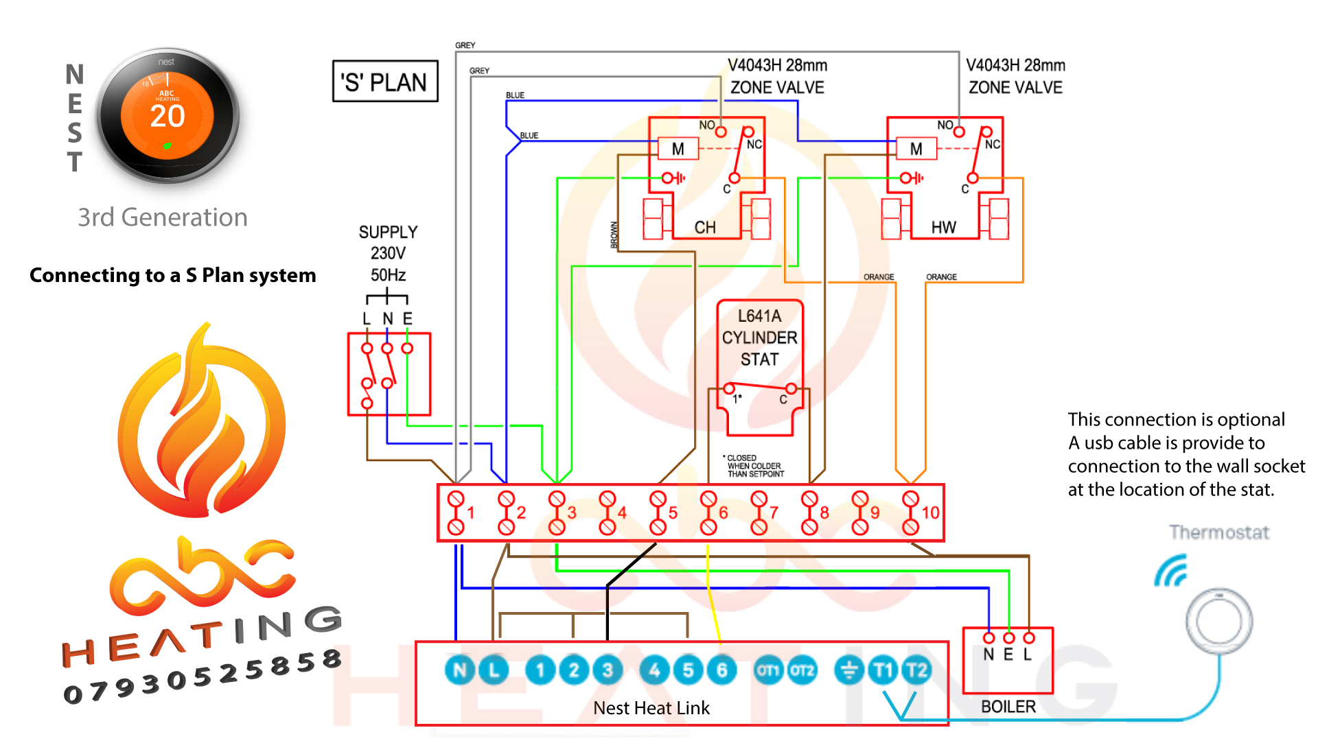 Nest 3Rd Gen Roomstat - Leicester Plumber | Boiler Services - Nest Wiring Diagram Brown