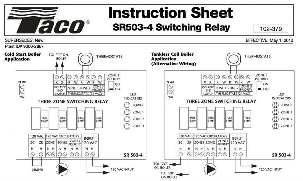 Taco 503 Switching Relay Wiring Diagram
