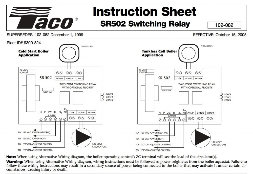 Taco Boiler Thermostat Wiring Diagram